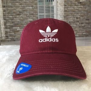adidas Washed Burgundy Strapback Dad Hat